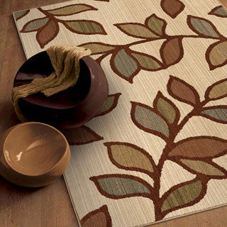 Versailles Shaggy Leaf Beige Rug (7'10 x 10'10)