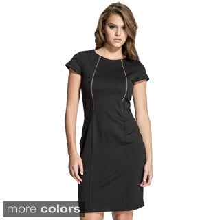 Women's Cap Sleeve Goldtone Zipper Sheath Dress
