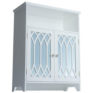 Kathy White 2-door Floor Cabinet with Mirror