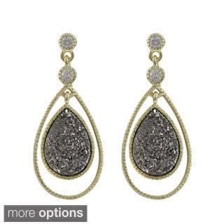 Luxiro Gold Over Silver or Sterling Silver Druzy Quartz Floating Teardrop Earrings