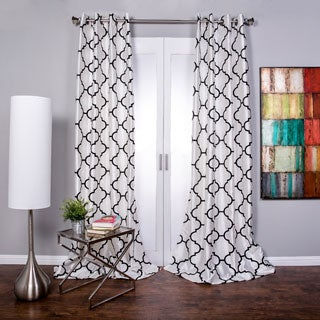 Morocco Flocked Faux Silk Grommet-top 96-inch Curtain Panel