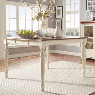TRIBECCA HOME Mackenzie Country White Extending Dining Table