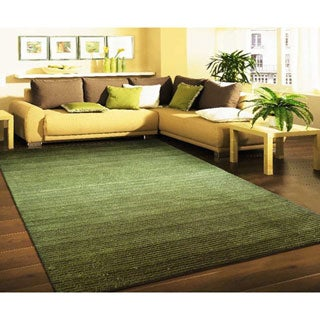 Dark Green and Citrus Artistry Stripes Rug (8' x 10')