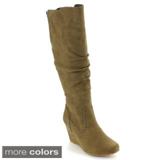 Blossom Women's 'Miri-2' Knee-high Wedge Boots