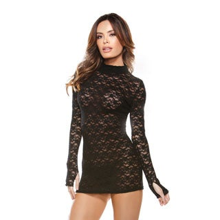 Fantasy Lingerie Black Lace Long-sleeve Mini Collared Dress and Matching G-string (One Size)