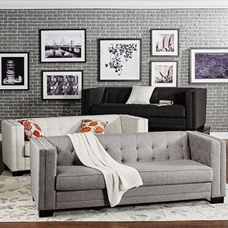 INSPIRE Q Hamilton Linen Button-tufted Sofa