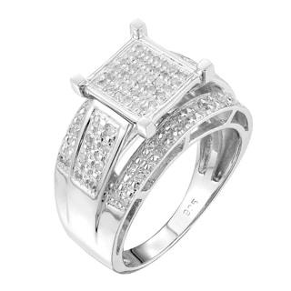 Sterling Silver 1/3ct TDW Square-set Paved Diamond Ring (G-H, I2-I3)