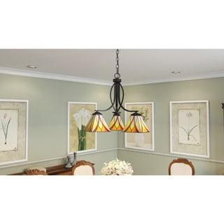 Asheville 3-light Valiant Bronze and Art Glass Dinette Chandelier