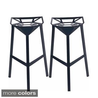 Mod Made Geometric Aluminum Barstool (Set of 2)