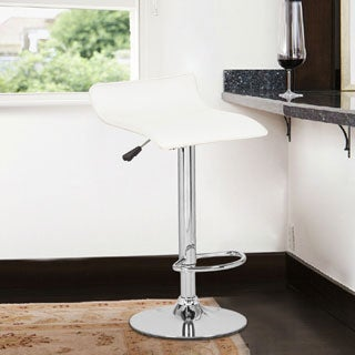 White Low-back Hydraulic Lift Adjustable Bar Stool Set