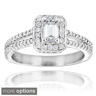 Luxurman 14k White Gold 1 1/5ct Emerald-cut Diamond Engagement Ring (H-I, SI1-SI2)