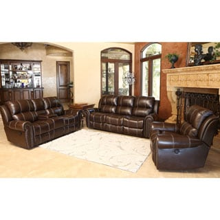 Abbyson Living Clarendon 3-piece Top Grain Leather Power Reclining Sofa Set