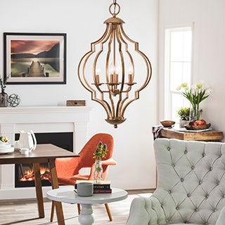 Gold Leaf Trellis 4-light Chandelier
