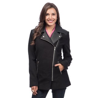 Maralyn & Me Women's Black Asymmetrical Zip Walking Coat