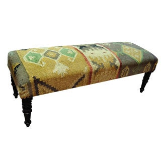 Herat Oriental Handmade Indo Kilim Green/ Goldtone Upholstered Bench (India)
