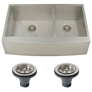 Ticor 4411BG-DEL 36-inch 16-gauge Curved Front Double Bowl Undermount Apron Kitchen Sink