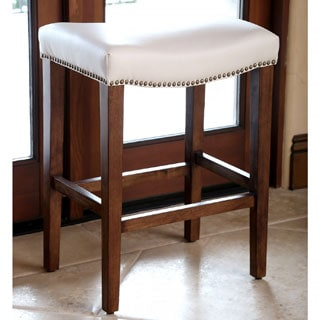 ABBYSON LIVINGMonica Pedersen Ivory Leather Counter Stool by