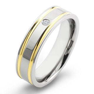 Crucible Two Tone Polished Titanium 0.03 CTTW Diamond Grooved Comfort Fit Ring - 6mm Wide