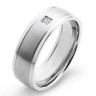 Crucible Titanium White Diamond Accent Brushed Comfort Band Ring