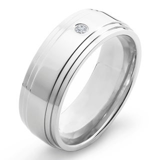 Crucible Titanium White Diamond Accent Polished Ridged Comfort Fit Band Ring