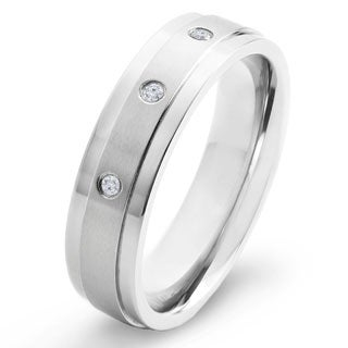 Crucible Titanium White Diamond Accent Dual Finished Comfort Fit Band Ring