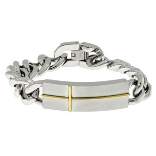 Stainless Steel Cross Accent Indentification Bracelet