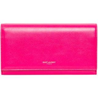 Saint Laurent Large Pink Leather Flap Wallet