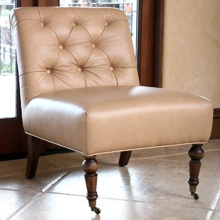 ABBYSON LIVING Monica Pedersen Camel Tufted Leather Chair by