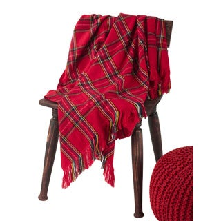 Red Plaid Woven Throw Blanket