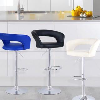 Adeco Leatherette Adjustable Low Back Chrome Base Barstool Chair (Set of 2)