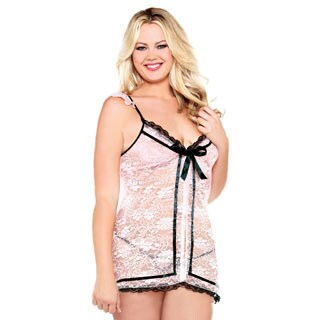 Fantasy Lingerie Plus-size Floral Lace Babydoll with Snap Front Opening and Matching Thong