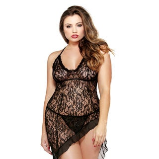 Fantasy Lingerie Women's Plus-size Black Asymmetrical Scalloped Lace Dress with Matching G-string
