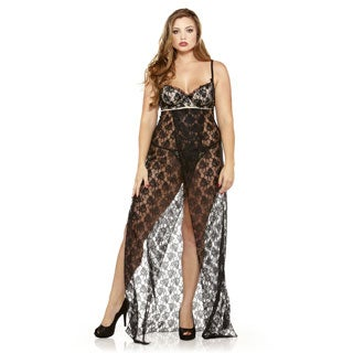 Fantasy Lingerie Women's Plus Size Lace Gown with G-string