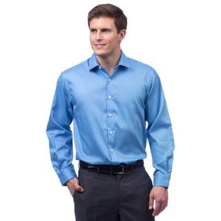 Kenneth Cole Men's Reaction Blue Textured Striped Dress Shirt