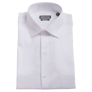 Kenneth Cole Men's Reaction White Textured Striped Dress Shirt