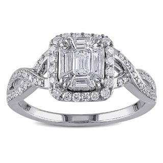 Miadora 18k White Gold 4/5ct TDW Baguette Cut Diamond Ring (G-H, SI1-SI