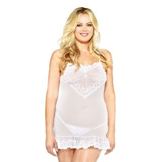 Fantasy Lingerie Women's Plus-size Embroidered Chemise with Matching G-string