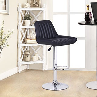 Adeco Black Hydraulic Lift Adjustable Barstool Chair (Set of 2)
