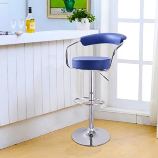 Adeco Blue Leatherette Curved Back Adjustable Barstool Chair with Chrome Arms and Base (Set of 2)