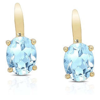 Dolce Giavonna Gold Over Sterling Silver Gemstone Leverback Earrings in Red Bow Gift Box