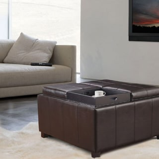 Adeco Brown Bonded Leather Square Storage Ottoman with 4 Serving Trays
