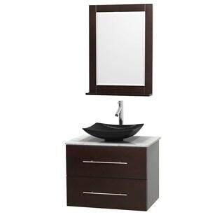 Wyndham Collection Centra 30-inch Single Bathroom Vanity in Espresso, w/ Mirror (Black Granite, Ivory Marble or White Carrera)