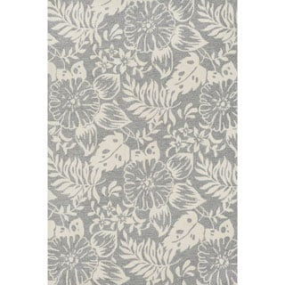 Hand-hooked Charlotte Grey/ Ivory Rug (7'6 x 9'6)