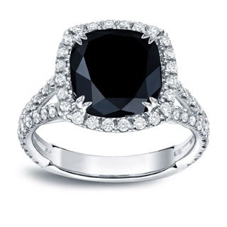 Auriya 18k White Gold 3 1/3ct TDW Black Cushion-cut Diamond Ring (G-H, VS1-VS2)