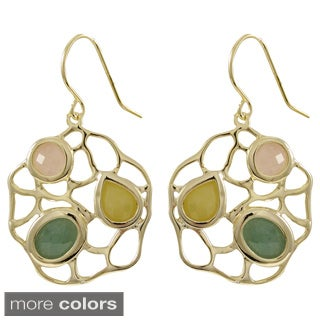 Sterling Silver Multi-colored Gemstone Filigree Dangling Earrings