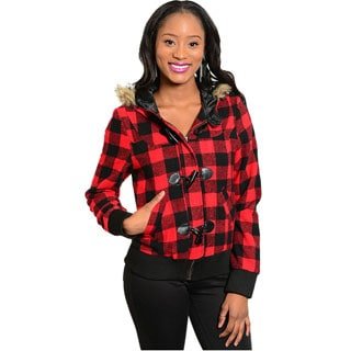 Shop The Trends Women's Flannel Plaid Jacket with Fur Hood