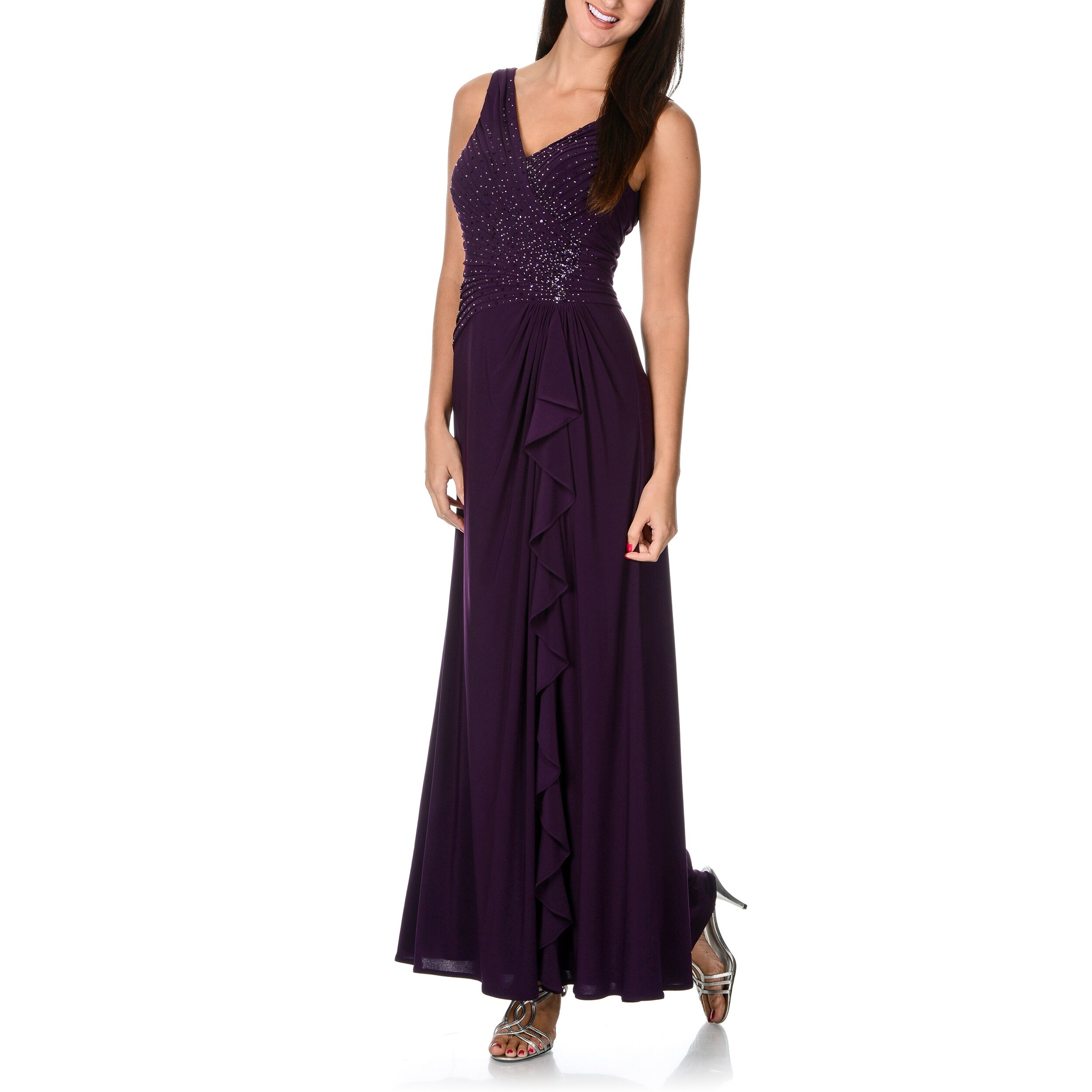 Ignite Women's Raisin Purple Beaded Evening Dress
