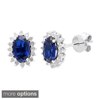10k White Gold 1/4ct TDW Diamond Halo and Oval-cut Gemstone Earrings (G-H, I1-I2)