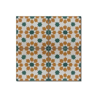 Pack of 12 Ahfir Handmade 8 x 8-inch Green Stars Cement and Granite Moroccan Tile (Morocco)