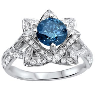 Noori 14k White Gold 1 3/5ctw Blue Round Diamond Lotus Flower Engagement Ring (SI1-SI2)